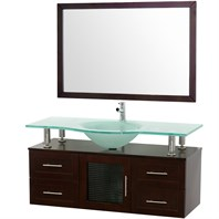 "Accara 48"" Wall Mounted Bathroom Vanity with Drawers - Espresso w/ Clear or Frosted Glass Counter B706-WM-48-ESP"