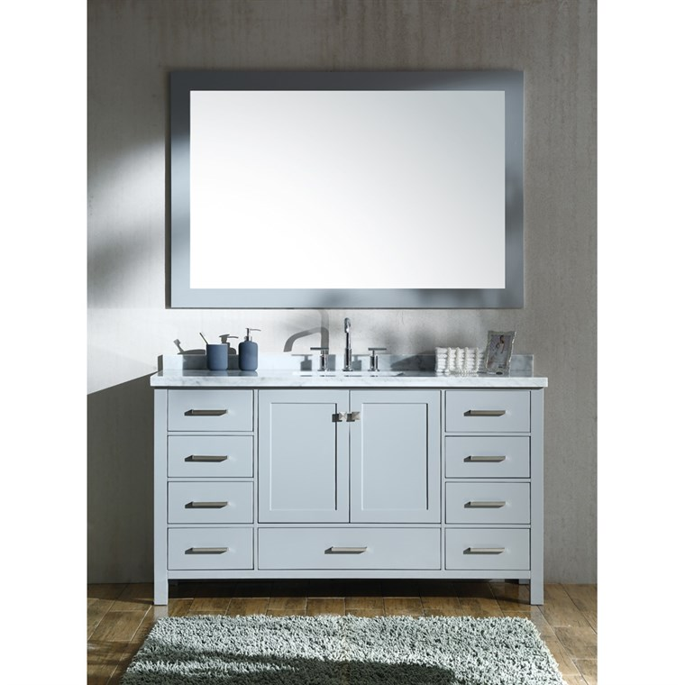 "Ariel Cambridge 61"" Single Sink Vanity Set with Rectangle Sink and Carrara White Marble Countertop - Grey A061S-CWR-GRY"