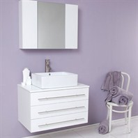 Fresca Modello White Modern Bathroom Vanity with Marble Countertop FVN6183WH