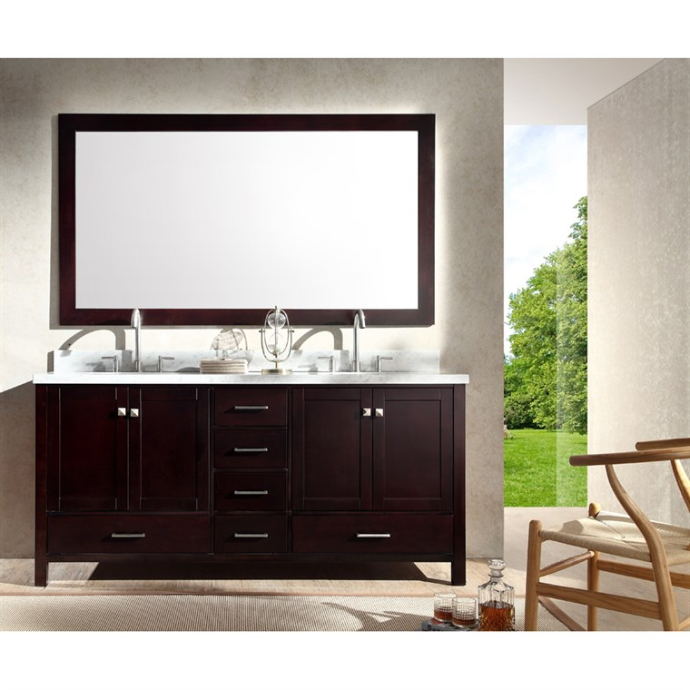 "Ariel Cambridge 73"" Double Sink Vanity Set with Carrera White Marble Countertop - Espresso A073D-ESP"