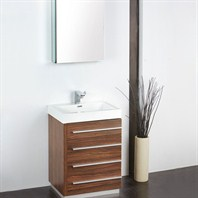 "Fresca Livello 24"" Walnut Modern Bathroom Vanity with Medicine Cabinet FVN8024GW"