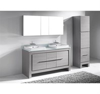 "Madeli Vicenza 60"" Double Bathroom Vanity for Glass Counter and Porcelain Basins - Ash Grey B999-60-001-AG-GLASS"