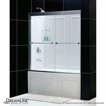 """Bath Authority DreamLine Duet Frameless Bypass Tub Door and QWALL-Tub Backwalls Kit, 56"""" to 59"""" DL-6996 by Bath Authority DreamLine"""