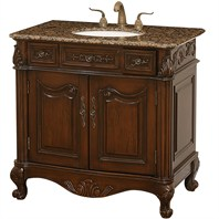 "Colonia 36"" Antique Bathroom Vanity - Cherry w/ Baltic Brown Granite Counter"
