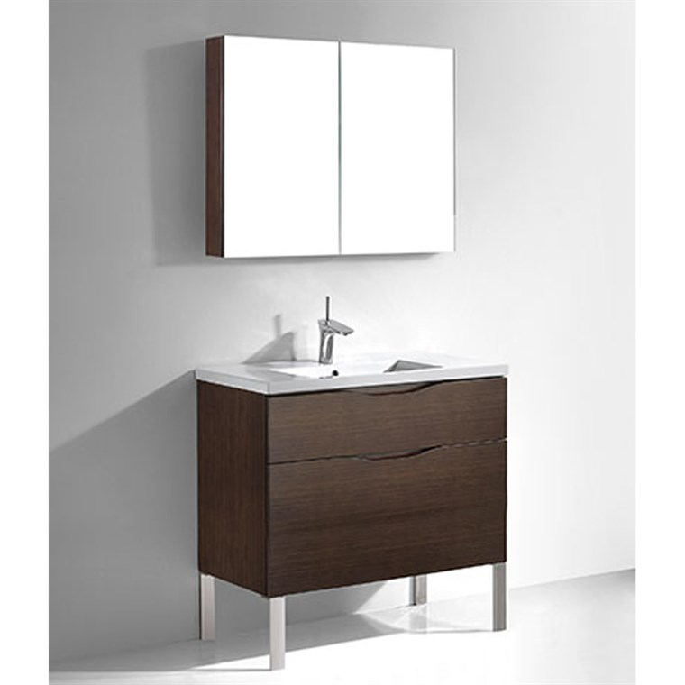 "Madeli Milano 36"" Bathroom Vanity for Integrated Basin - Walnut B200-36-021-WA"