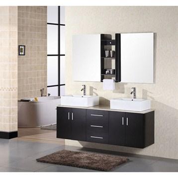 "Design Element Portland 61"" Wall Mount Bathroom Vanity, Espresso DEC004 by Design Element"