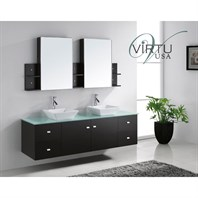 "Virtu USA Clarissa 72"" Double Sink Bathroom Vanity - Espresso MD-409"
