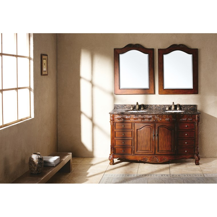 "James Martin 60"" St. James Double Granite Top Vanity - Cherry 206-001-5502"
