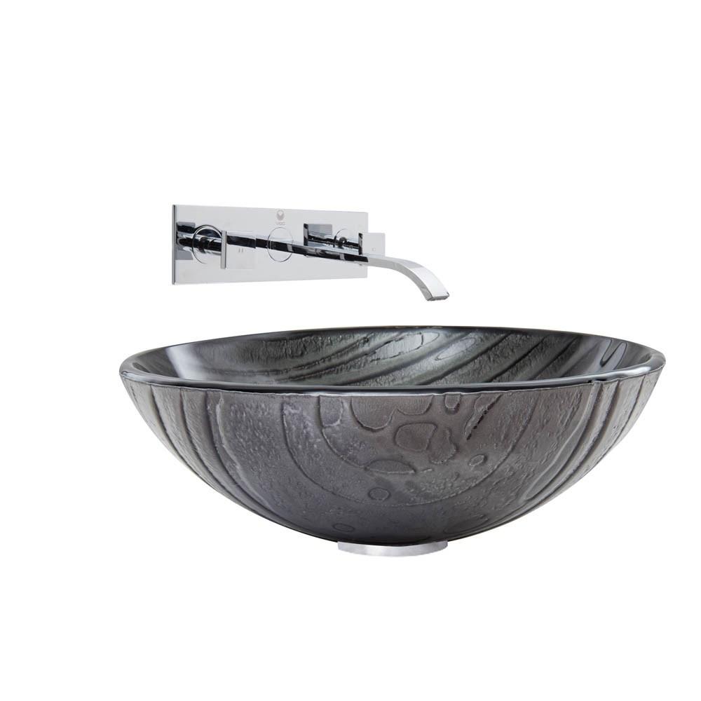 VIGO Interspace Glass Vessel Sink and Titus Faucet Setnohtin Sale $235.90 SKU: VGT859- :