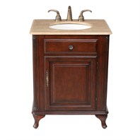 "Stufurhome 27"" Lucy Classic Single Sink Vanity with Travertine Marble Top - Cherry GM-2212-27-TR"