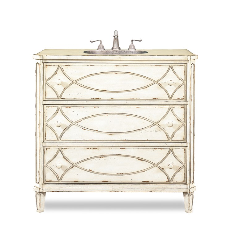 "Cole & Co. 37"" Designer Series Collection Ella Sink Chest - Antique White 11.23.275537.26"