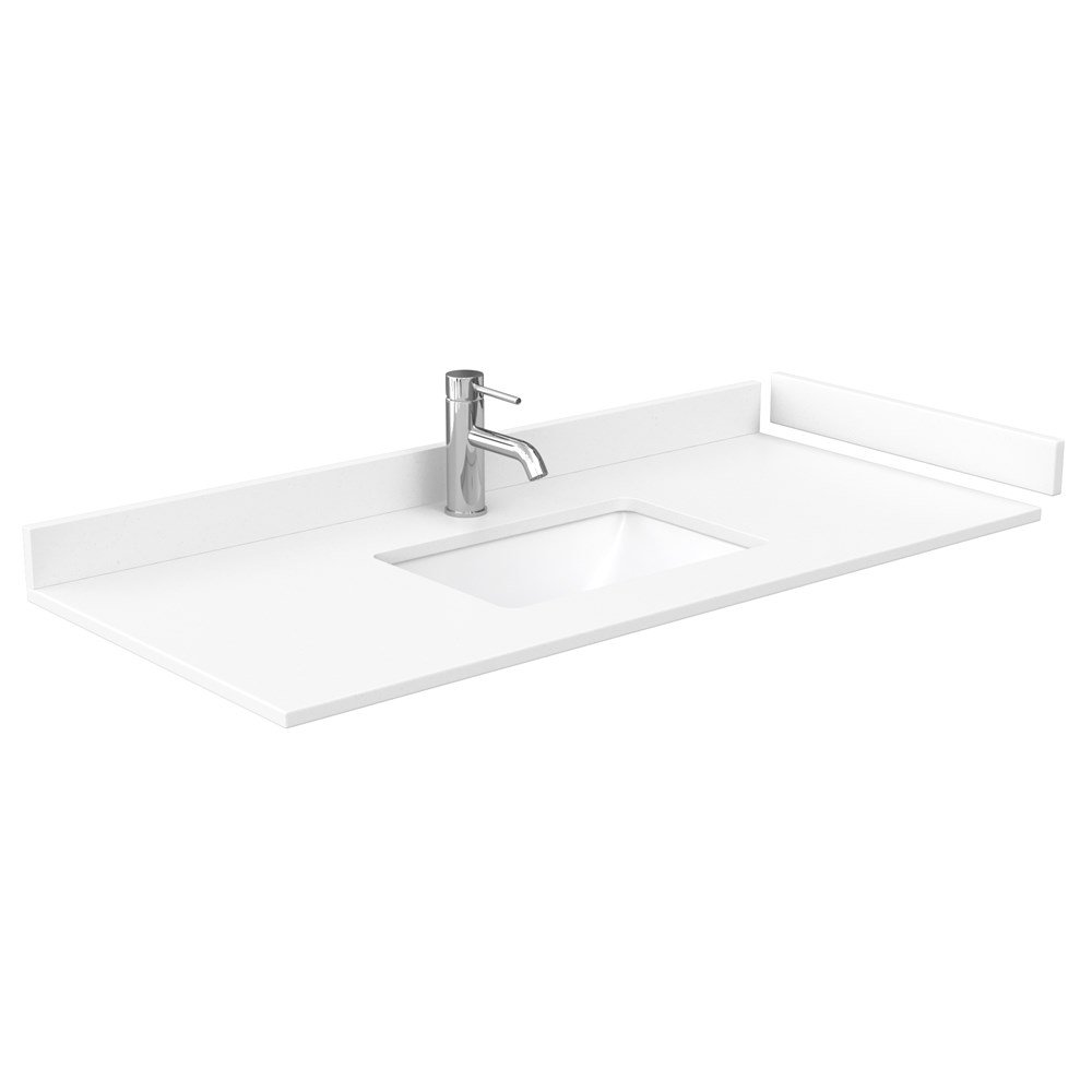 "48"" Single Countertop - White Cultured Marble with Undermount Square Sink - Include Backsplash and Sidesplash WC-VCA-48-SGL-TOP-UMSQ-WHC"