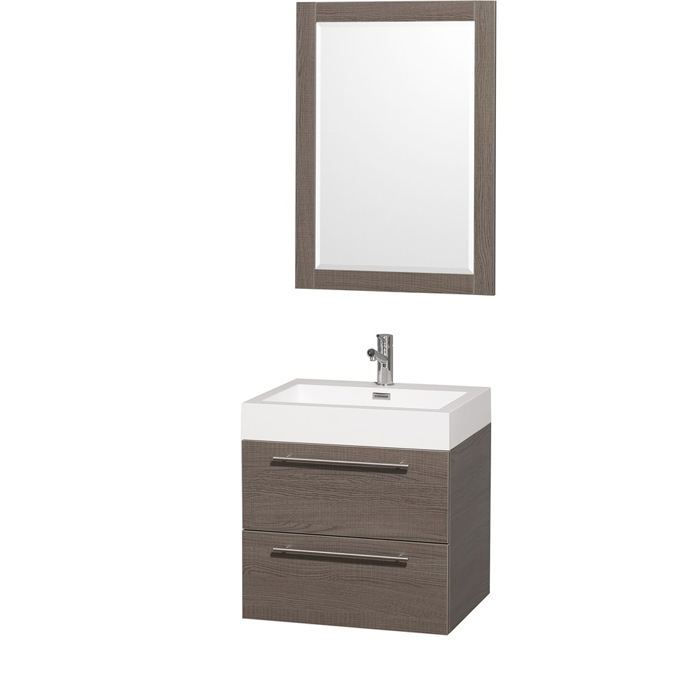 Amare 24 inch Wall Mounted Bathroom Vanity Set With Integrated Sink by Wyndham Collection Gray Oak