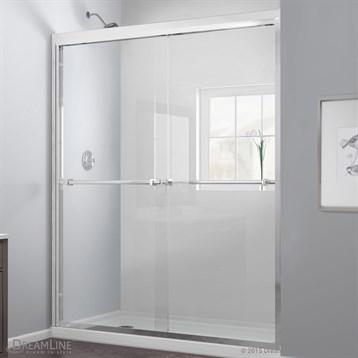 """Bath Authority DreamLine Duet Frameless Bypass Sliding Shower Door and SlimLine Single Threshold Shower Base, 36""""... by Bath Authority DreamLine"""
