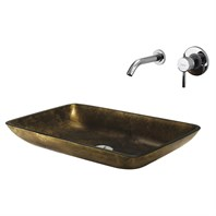 Vigo Industries Copper Glass Vessel Sink w/ Single Handle Wall Mount Faucet