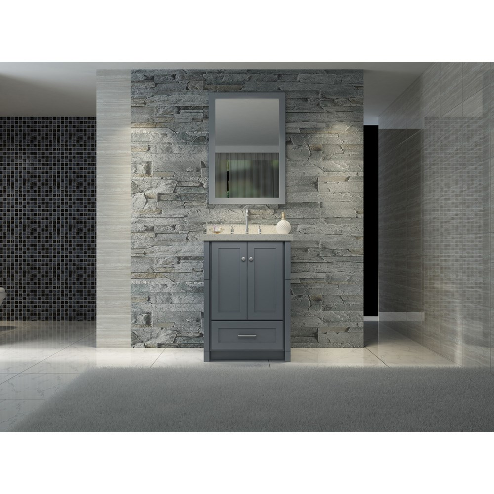 "Ariel Adams 25"" Single Sink Vanity Set with White Quartz Countertop - Greynohtin Sale $899.00 SKU: L025S-GRY :"