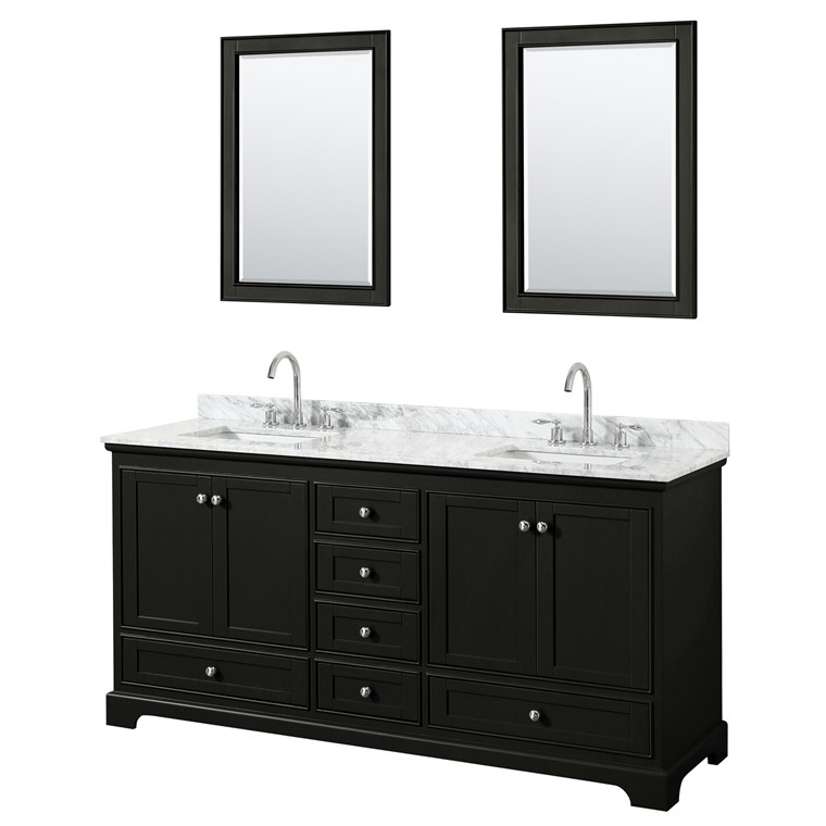 "Deborah 72"" Double Bathroom Vanity by Wyndham Collection - Dark Espresso WC-2020-72-DBL-VAN-DES"