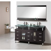 "Virtu USA Rocco 59"" Double Sink Bathroom Vanity - Espresso MD-61"