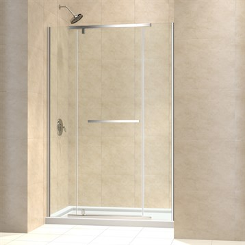 "Bath Authority DreamLine Vitreo-X Frameless Pivot Shower Door and SlimLine Single Threshold Shower Base, 30"" by... by Bath Authority DreamLine"