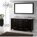 "Virtu USA 60"" Caroline Avenue Double Bathroom Vanity with Italian Carrara Marble Countertop - Espresso GD-50060"
