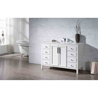 "Stufurhome Emily 49"" Single Sink Bathroom Vanity with White Quartz Top - White TY-6262-49-QZ"