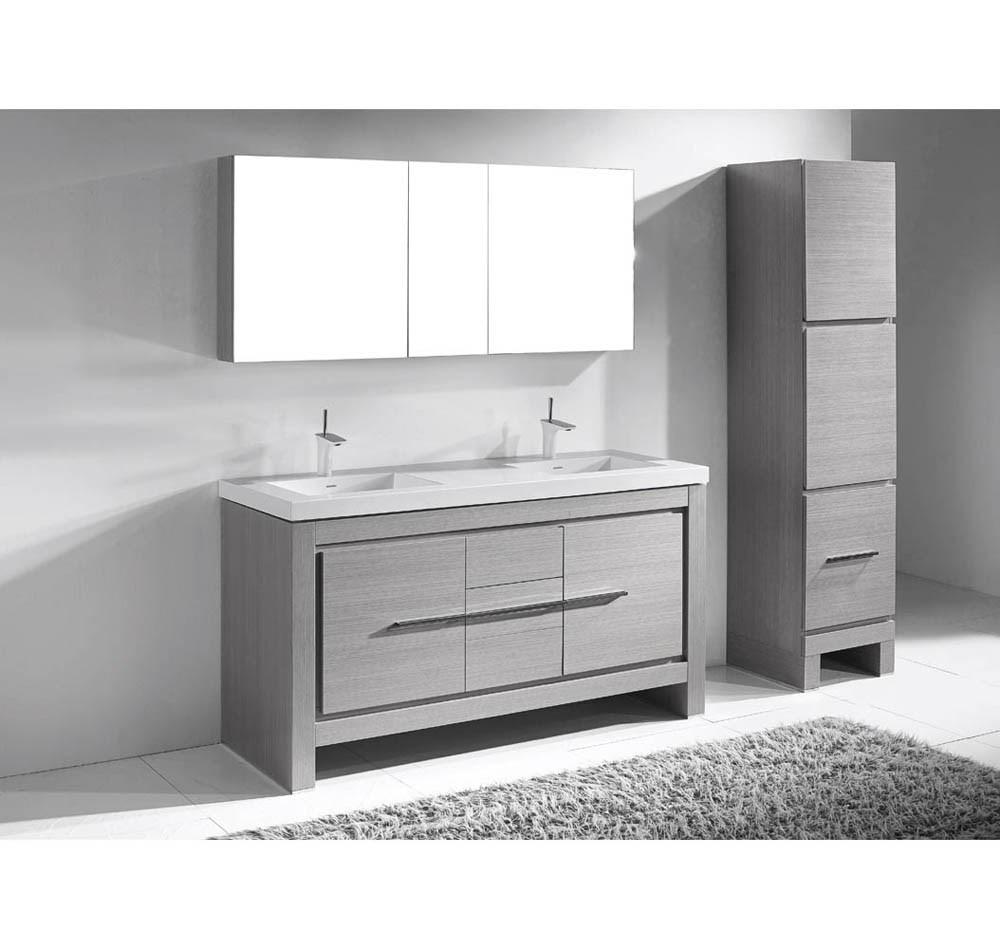 "Madeli Vicenza 60"" Double Bathroom Vanity For X-Stone - Ash Greynohtin"