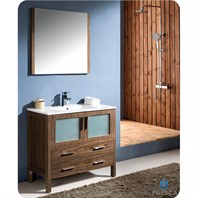 "Fresca Torino 36"" Walnut Brown Modern Bathroom Vanity with Integrated Sink FVN6236WB-UNS"