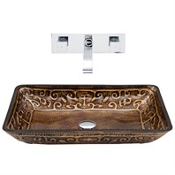 VIGO Rectangular Golden Greek Glass Vessel Sink and Wall Mount Faucet Set VGT289-