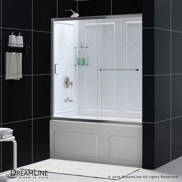 "Bath Authority DreamLine Infinity-Z Frameless Sliding Tub Door and QWALL-Tub Backwalls Kit, 56-60"" DL-6992 by Bath Authority DreamLine"