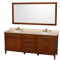 "Hatton 80"" Double Bathroom Vanity by Wyndham Collection - Light Chestnut WC-1616-80-DBL-VAN-CLT"