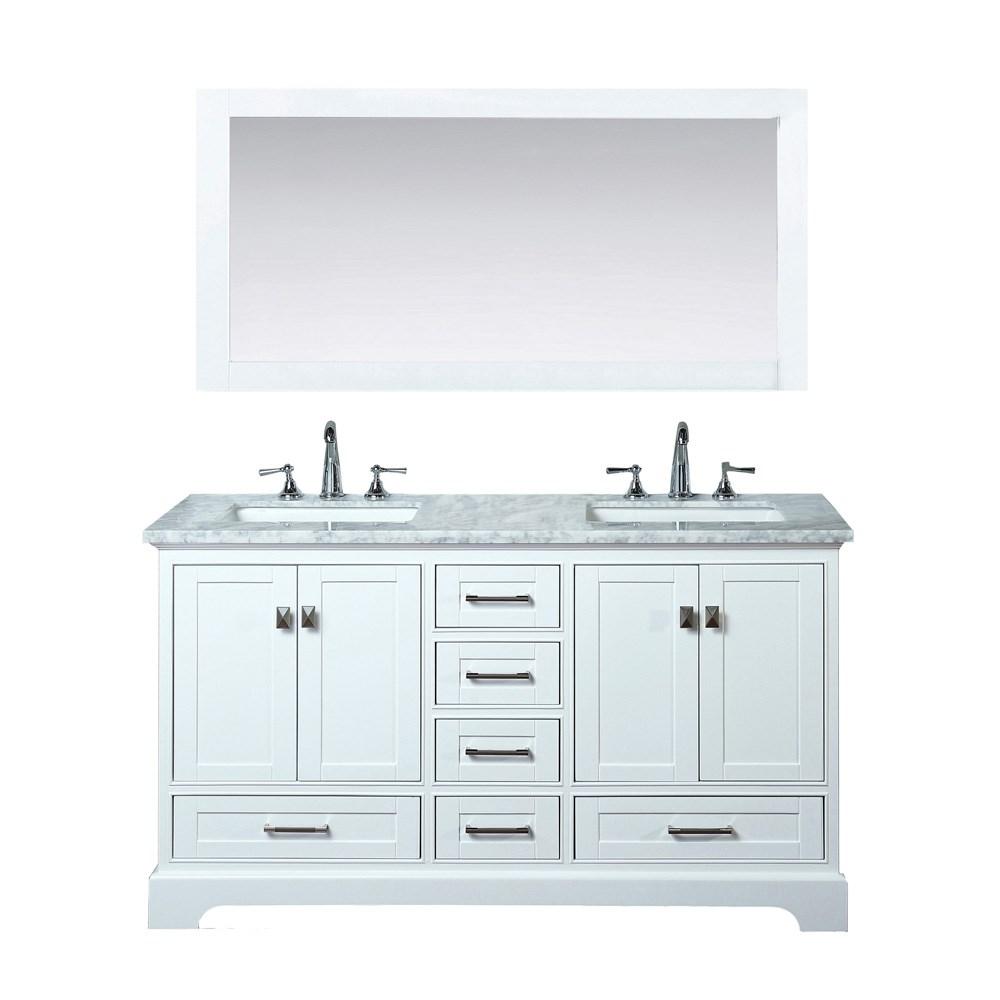 Stufurhome Newport White 60 Double Sink Bathroom Vanity With Mirror