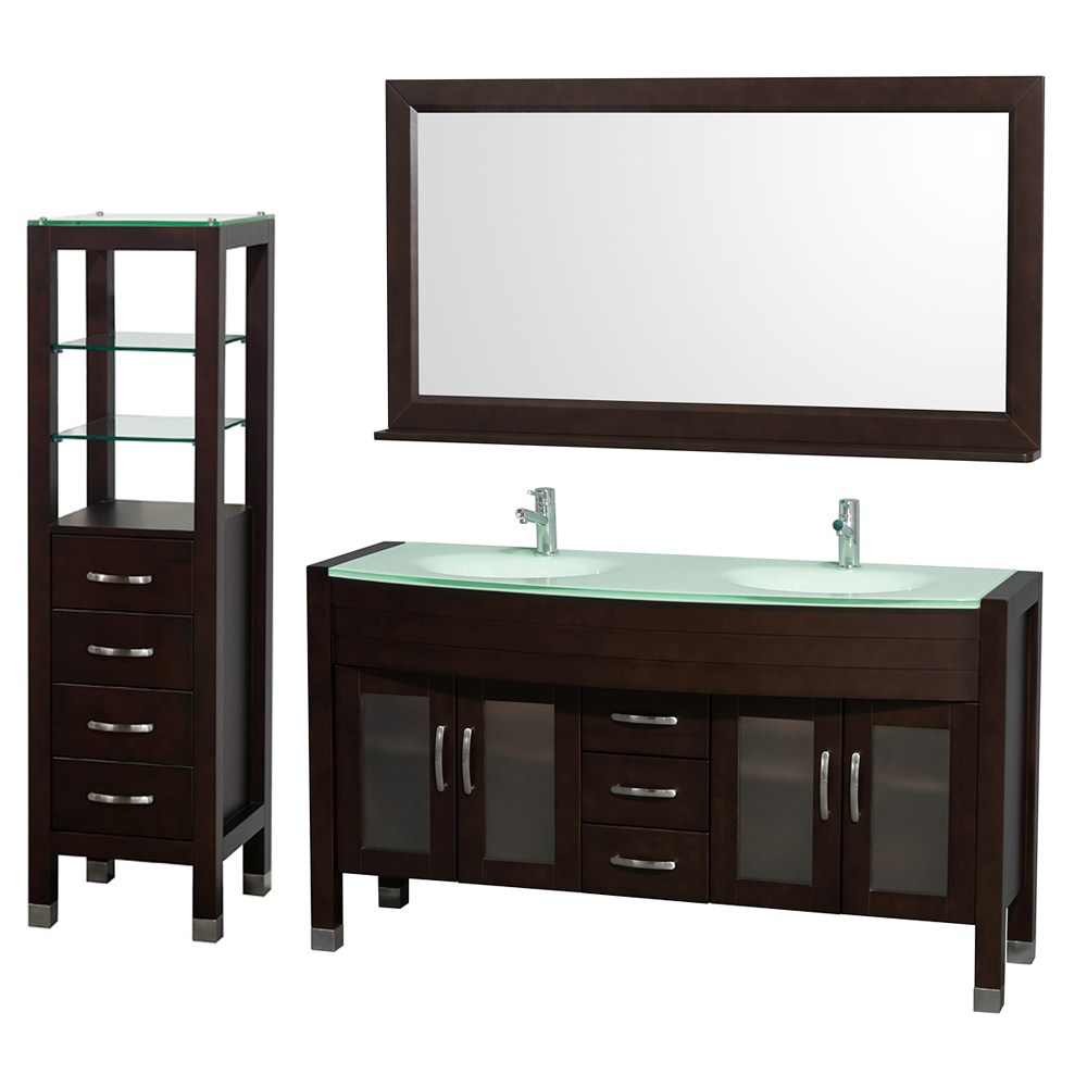"Daytona 60"" Double Bathroom Vanity Set by Wyndham Collection - Espressonohtin Sale $1789.00 SKU: WC-A-W2200-60-ESP-SET- :"