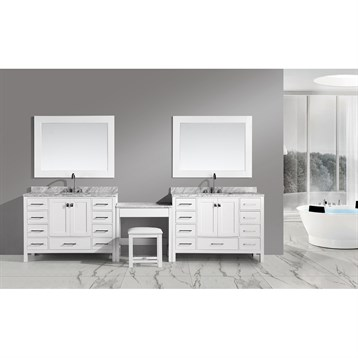 "Design Element London Two 48"" Vanities with Make-up Table, White DEC082C-Wx2_MUT-W by Design Element"