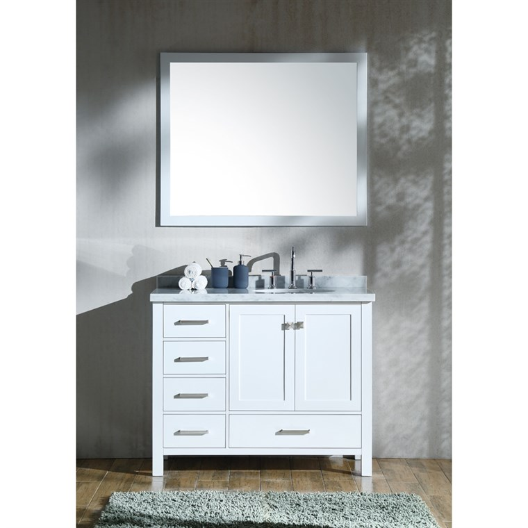 "Ariel Cambridge 43"" Single Sink Vanity Set with Right Offset Sink and Carrara White Marble Countertop - White A043S-R-WHT"
