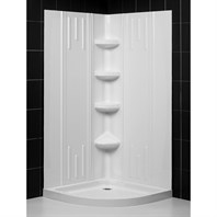 "Bath Authority DreamLine SlimLine Quarter Round Shower Base and QWALL-2 Shower Backwalls Kit (33"" by 33"") DL-6142-01"