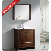 "Fresca Allier 30"" Wenge Brown Modern Bathroom Vanity with Mirror FVN8130WG"