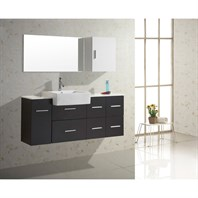 "Virtu USA Hazel 56"" Single Sink Bathroom Vanity - Black UM-3055-S-BL"