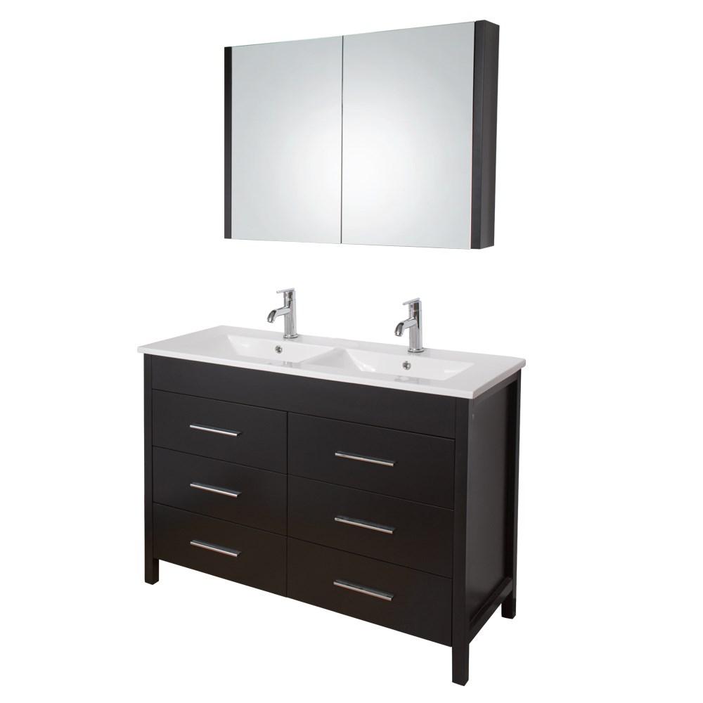 48 inch maxine double bathroom vanity with medicine cabinet espresso