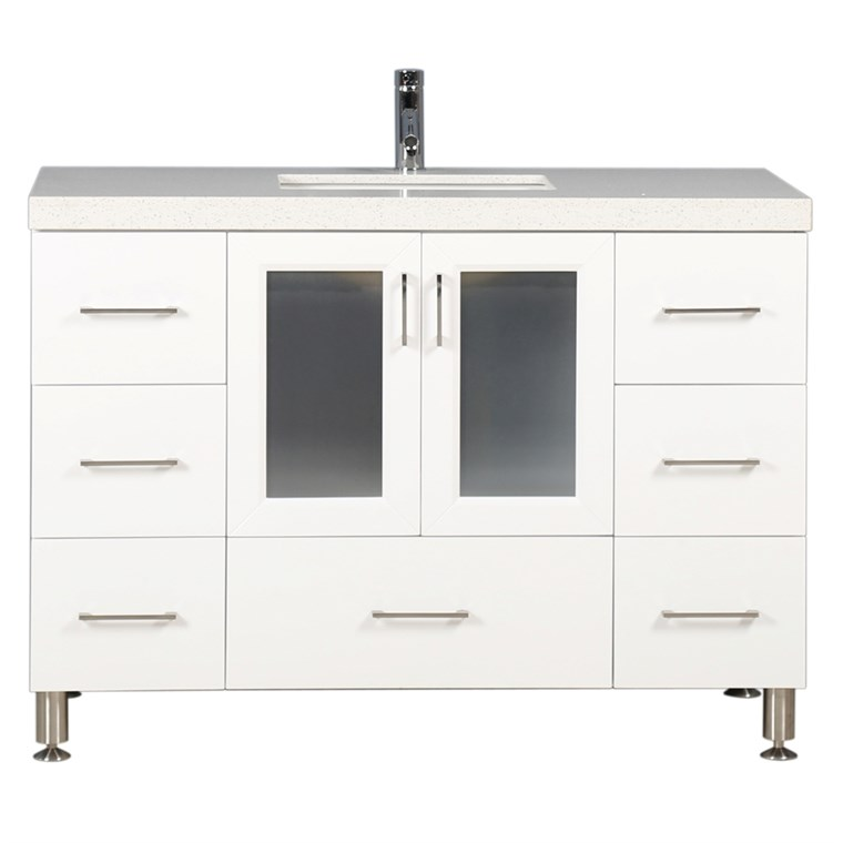 "Design Element Westfield 48"" Single Sink Vanity - White WF-48-W"