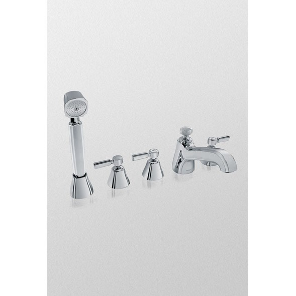 TOTO Guinevere™ Deck-Mount Bath Faucet w/ Lever Handles, Handshower and Diverter - Polished Chrome TB970S1.CP