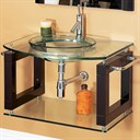 "Laguna 34"" Wall-Mounted Bathroom Vanity with Glass Countertop"
