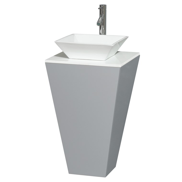 Esprit Bathroom Pedestal Vanity Set by Wyndham Collection - Gray WC-CS004-20-GRY