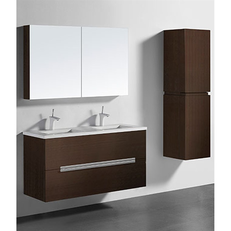 "Madeli Urban 48"" Double Bathroom Vanity for Quartzstone Top - Walnut B300-48D-002-WA-QUARTZ"