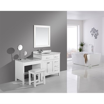 """Design Element London 36"""" Vanity Set with a Make-up Table, White DEC076D-W_MUT-W by Design Element"""