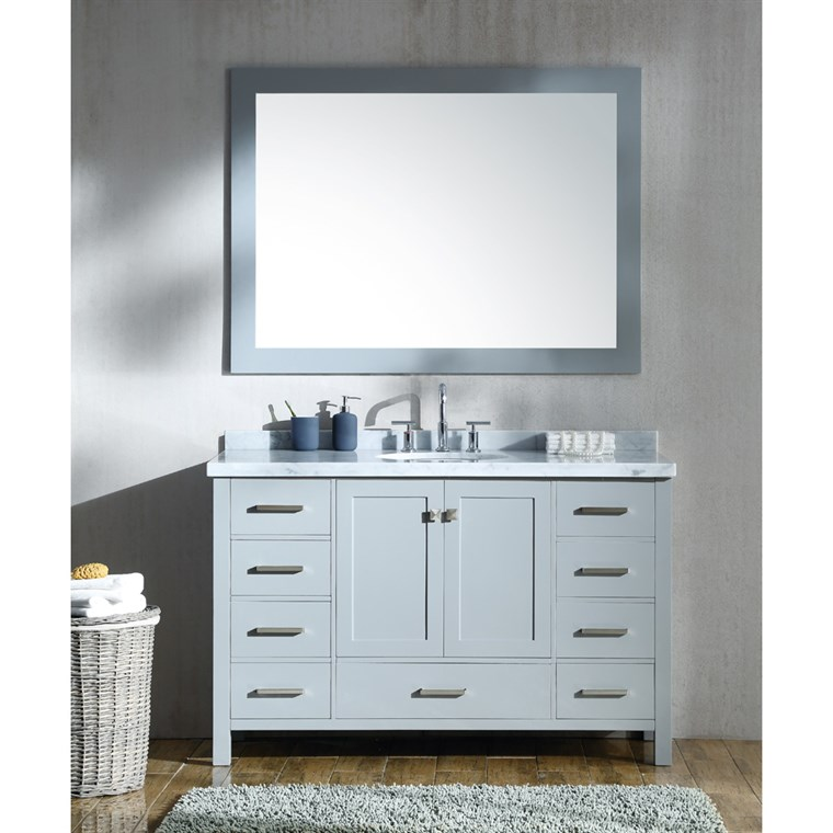"Ariel Cambridge 55"" Single Sink Vanity Set with Carrara White Marble Countertop - Grey A055S-GRY"