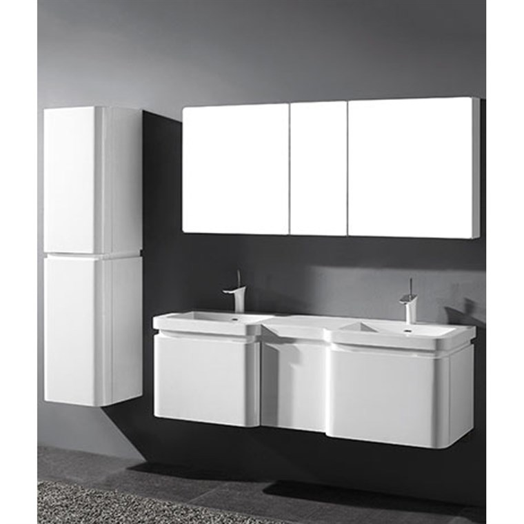 "Madeli Euro 60"" Double Bathroom Vanity for Integrated Basins - Glossy White 2X-B930-24-002-GW, UC930-12-007-GW"