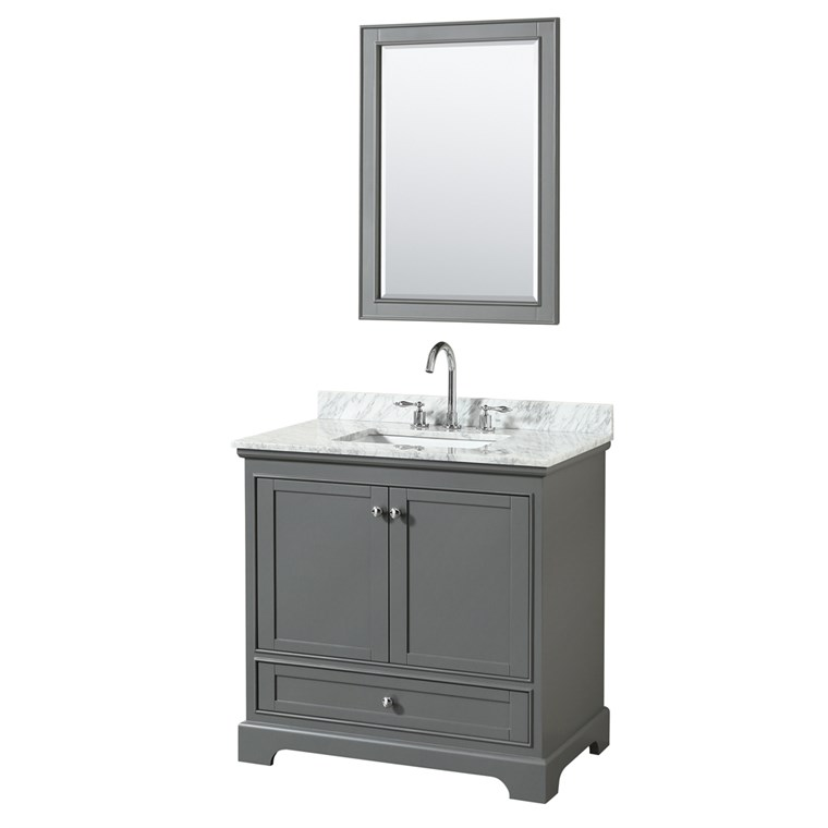 "Deborah 36"" Single Bathroom Vanity by Wyndham Collection - Dark Gray WC-2020-36-SGL-VAN-DKG"