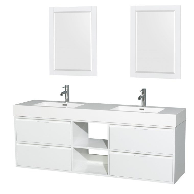 "Daniella 72"" Wall-Mounted Double Bathroom Vanity Set With Integrated Sinks by Wyndham Collection - Glossy White WC-R4600-72-VAN-WHT"
