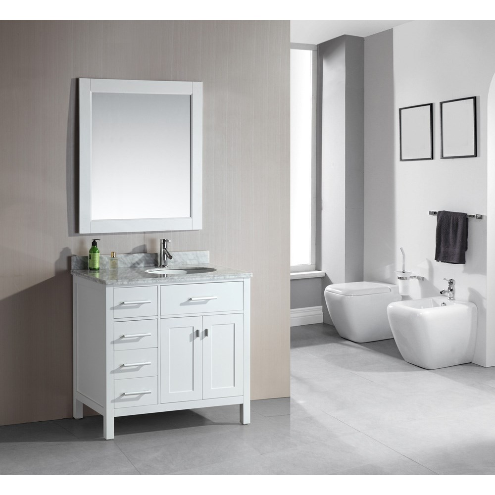 "Design Element London 36"" Single Vanity with Drawers on the Left, White Carrera Countertop, Sink and Mirror - Pearl White DEC076D-W-L"