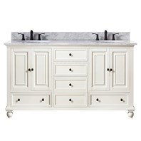 "Avanity Thompson 60"" Double Bathroom Vanity - French White THOMPSON-60-FW"